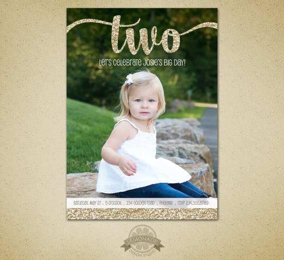 Two year old birthday gold glitter second birthday like this item filmwisefo Gallery