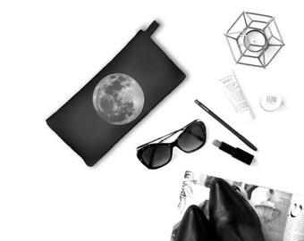 Full Moon Cosmetic Pencil Zipper Case Modern Astronomy Zip Clutch Full Moon Makeup Case  moon accessory
