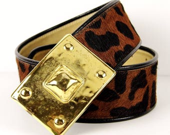 Very Rare - Vintage 1980's Catherine Carson Designs Animal Print Calf Hair & Leather Belt Made in USA (Size 26/28) in Excellent Condition