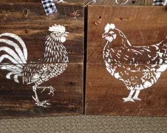 Rustic Barnwood Hen and Rooster Sign (set of two)
