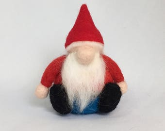 "Needle Felted Gnome 3.5"" high x 2.5"" wide, 100% handmade needle felted character."