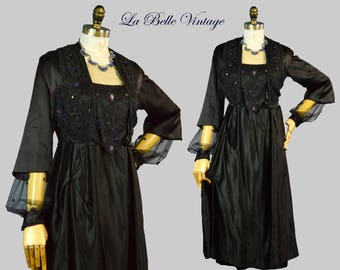 1910s Beaded Silk Dress S Vintage Jeweled Evening Gown ~ Museum Quality