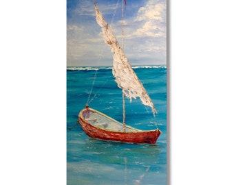 Sailboat Painting Canvas Original Oil Painting Ocean Painting Boat Painting Seascape Ukrainian Modern Art Interior Painting Wall Art Canvas