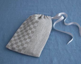 Small natural linen gift bag - Mixed pattern drawstring pouch with lining and satin ribbon geometric design checks and stripes