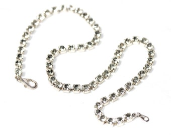 Clear Rhinestone Vintage CHOKER Short Necklace with clasp