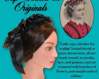 Victorian Black Civil War Lace Cap - Affordable Elegance