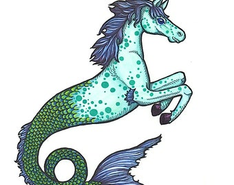 Mythical Hippocampus Seahorse -Art Print - Watercolor Painting