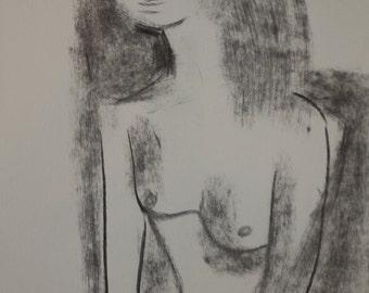 Stylized portrayal, original drawning, charcoal and ink