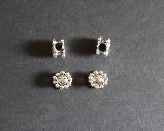 4 lampwork style beads Tibetan silver Sun