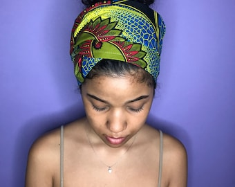 Lime Green and Blue Kuchena Half Head Wrap