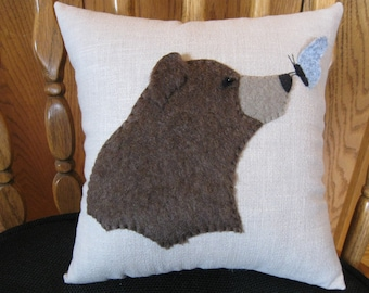 Bear and Butterfly Furry Pillow Wool Applique Hand Made