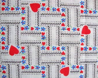 Cute Vintage 80s Heart and Daisy Flower Fabric Red White Blue Faux Weave Print Little Hearts Floral Print Valentines Day Doll Clothes CBF