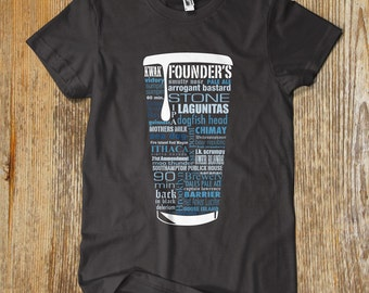 BLUE CRAFT BEER typography t shirt. One of a kind
