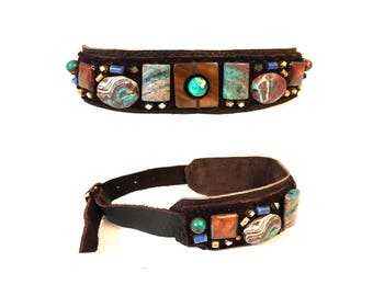 The EMBELLISHED COLLAR by Gilded-Mane: African Turquoise, Mother of Pearl, Sodalite and Brass Beads on Chocolate Leather