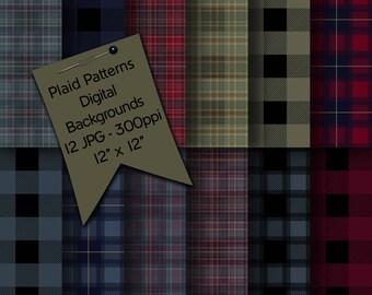 Buffalo Plaid Seamless Patterns | Plaid Patterns | Surface Patterns | Designer Resources | Digital Backgrounds | Plaid Seamless Art Patterns