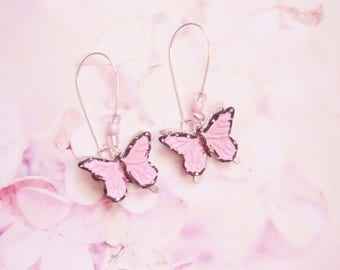 earrings pink  butterfly polymer clay