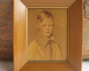 Vintage Rustic Child Boy Portrait Peter by Arthur Garratt Framed Print