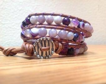 Multi Gemstone Triple Wrap Leather Bracelet, Ruby Quartz and Puple Line Agate Bracelet, Boho Bracelet, Hippie Bracelet