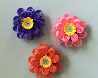 Quilled Flower Magnets (set of 3)