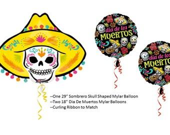 Day of the Dead Balloons, Dia De Muertos Skull balloon