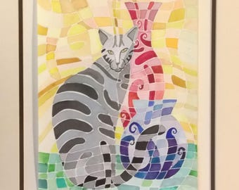 1 dollar shipping Original watercolor Painting Cat w/Vases 16x20 inches cubist abstract style colorful matted framed gift for cat lovers