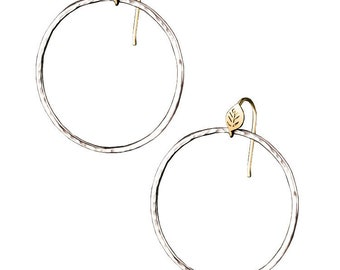 Forest Lake Hoop Earrings, Leaf and Textured hoop earrings, 14K Yellow Gold and Silver Hoops