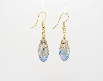 Crystal Drop Earrings, Blue Dangle Earrings, Blue Aurora Borealis Crystal Earrings, Wedding Earrings, Bridal Earrings, Blue Crystal Earrings