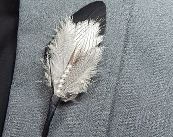 Pearl and feather formal boutonniere