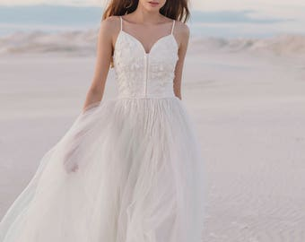 Ivory wedding dress, hand embroidered wedding gown