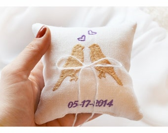 Lovebrids Embroidered Wedding ring pillow , wedding pillow , ring pillow, ring bearer pillow with Custom embroidery (LR9)