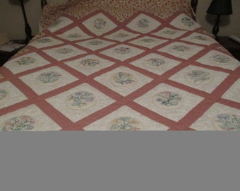 Hand Embroidered Flower Queen-sized Quilt