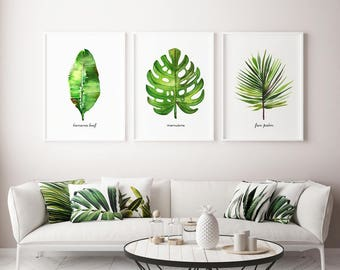 Palm leaf Watercolor painting Living room wall art Set of 3 palm tree art print Botanical prints Tropical decor Banana leaf Palm frond art