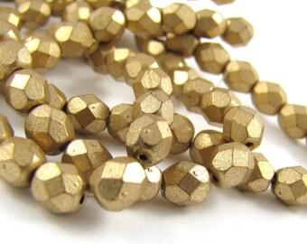 Matte Metallic Flax Gold 6mm Facet Round Czech Glass Fire Polished Beads #169