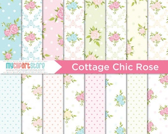 Digital Paper - Cottage Chic Rose, Shabby Chic, Scrapbook Paper, Digital Pattern, Commercial Use, JPEG, PDF