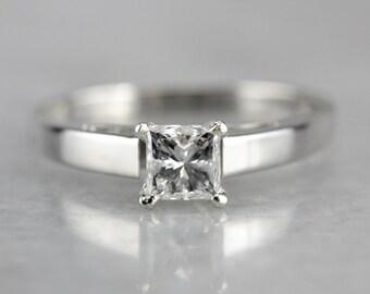 Princess Cut Diamond Ring, Diamond Engagement Ring, Solitaire Diamond Ring, Platinum Engagement 30T4RFHV-C