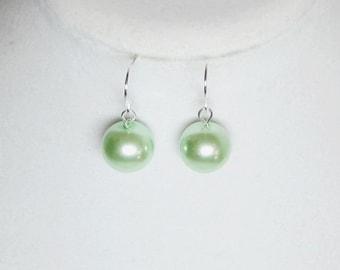 Mint Green Earrings Pearl Statement Earrings Big Beads 12mm