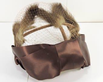 Vintage Mink Fascinator / Vintage Hair Fascinator / Mink Head piece / Brown Fur Fascinator