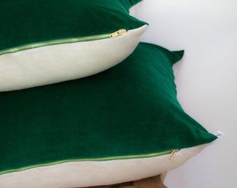 Velvet and Linen Cushion in Bottle Green 45 x 45 cm