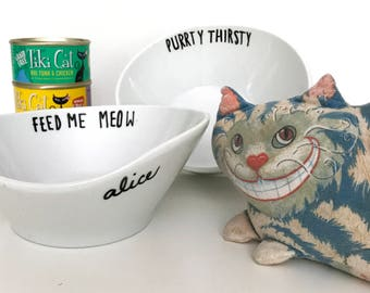 Upcycled Porcelain Cat Bowls, Customizable,  Hand Painted, Funny Cute, Whisker Friendly