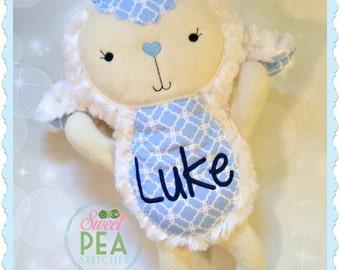 Personalized Lamb - Stuffed animal - Monogram Lamb- Plush Lamb - Personalized Baby Gift - Baby Shower gift - Easter gift - Easter Lamb