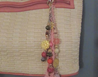 Beaded Purse Chain Keychain Clip with Detachable PALE PINK Tassel