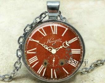 Vintage clock pendant, clock necklace, clock jewelry, clock art, clock pendant, vintage clock necklace, Pendant#HG126P