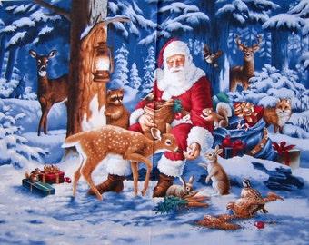 "23"" Fabric Panel - RJR Christmas Good Tidings Santa Claus Reindeer Scene"