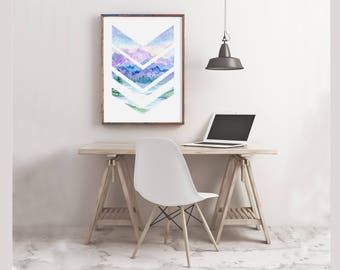 Mountains with Chevrons Watercolor Print, wall art, woodland nursery art, purple mountains, tribal arrows, nursery print, landscape, office