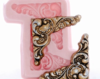 Silicone Mold Victorian Corner Scroll Mold - Food Safe Fondant Chocolate Sugarart Mold  - Craft Resin Polymer Clay Embellishment Mold  (735)