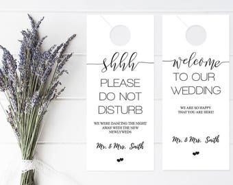 Wedding Door Hanger Template Please Do Not Disturb Door