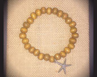 Starfish Beaded Wood Bracelet