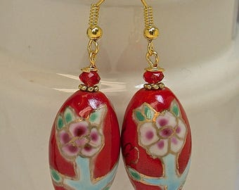 Vintage Chinese Porcelain Cherry Red Bead Earrings Pink Flowers Long Oval ,Vintage Red Crystal Beads, Gold French Ear Wires - GIFT WRAPPED