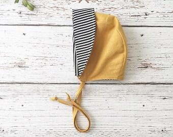 baby bonnet // boy bonnet // modern baby bonnet // baby hat // baby sun hat // sunbonnet // mustard bonnet // black white stripe bonnet