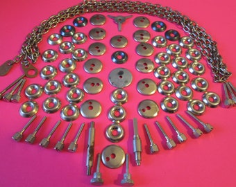 "Big Lot of Shiny Chrome Clock Hardware and 56"" Steel Chain for your Steampunk Art Projects"